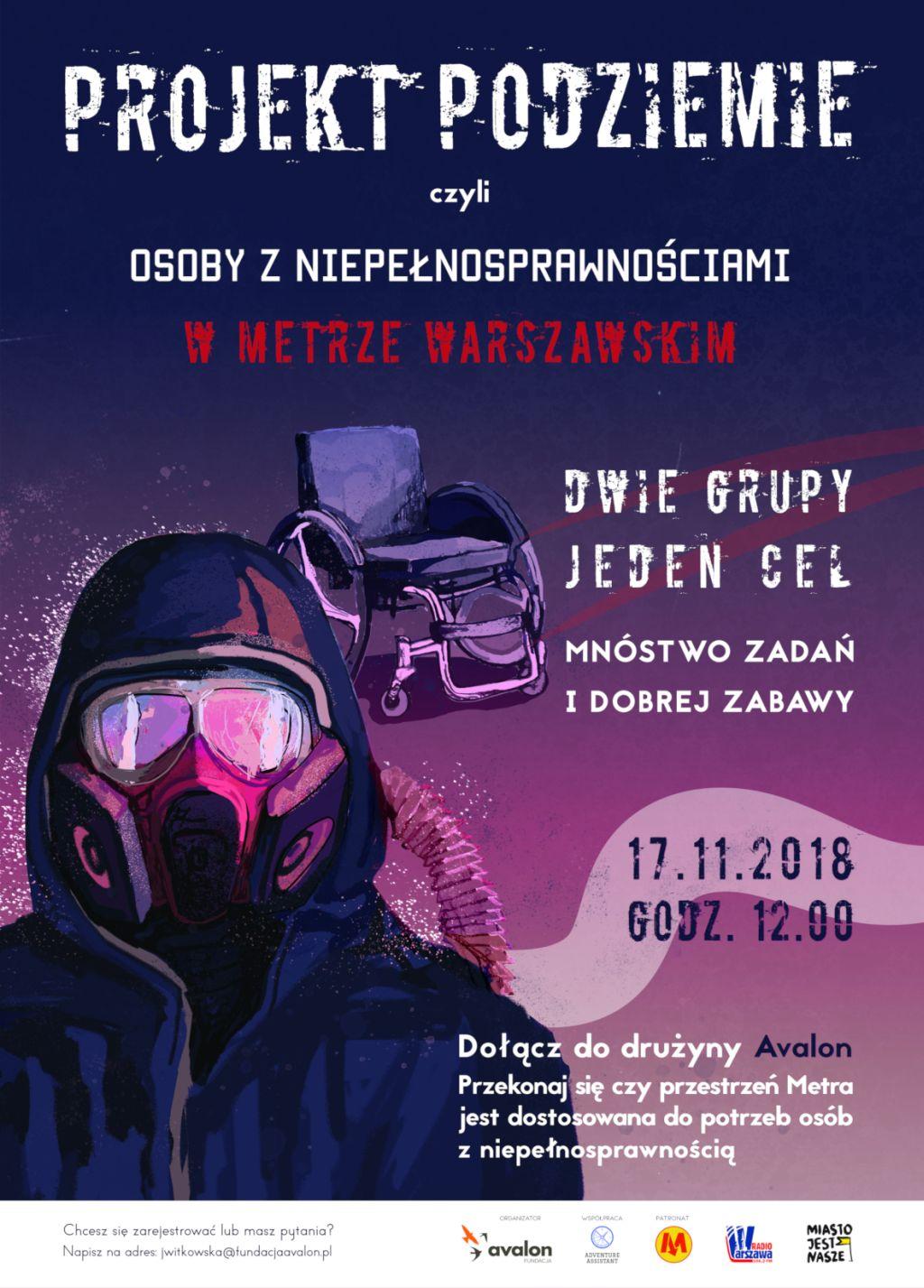 """Plakat akcji: """"Osoby z niepełnosprawnością w Metrze Warszawskim"""""""
