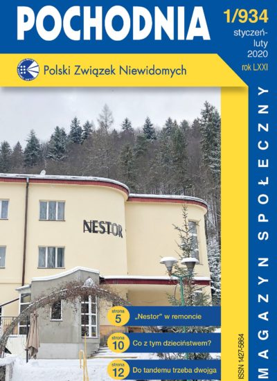 """okładka czasopisma """"Pochodnia"""", nr 1/934. Na okładce ośrodek Nestor w zimowej scenerii"""