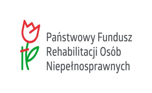 Logo PFRON. Po lewej stronie róża podpierana drążkiem, po prawej napis: Państwowy Fundusz Rehabilitacji Osób Niepełnosprawnych