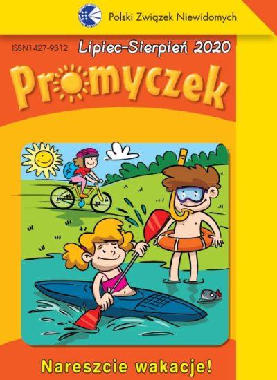 Okładka Promyczka. Chłopiec stoi na plaży w kółku i masce do nurkowania. Dziewczynka siedzi w kajaku. Z tyłu dziewczynka jedzie na rowerze.