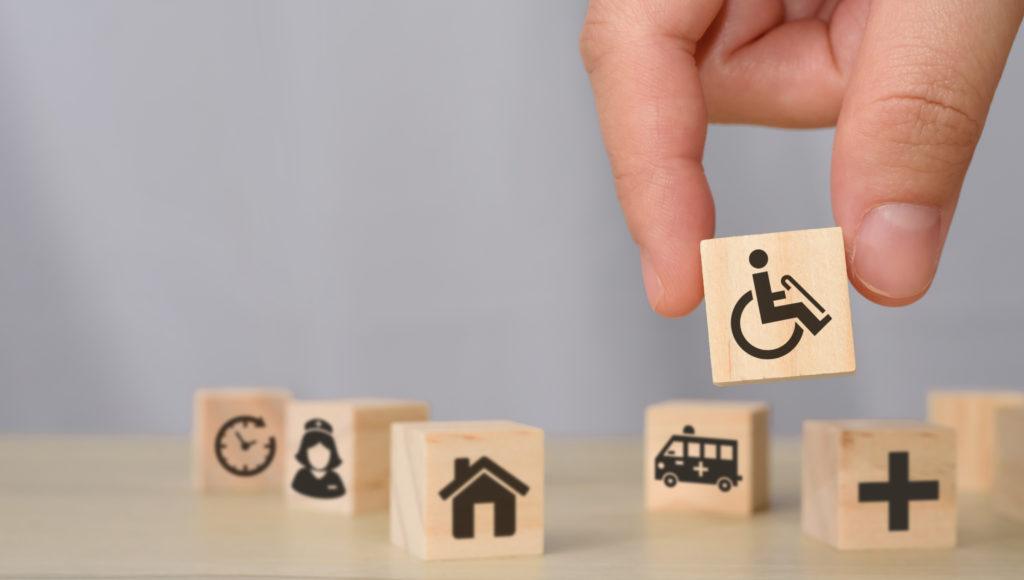 Klocki z symbolami niepełnosprawności