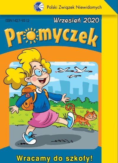 Okładka wrześniowego Promyczka. Uśmiechnięta dziewczynka o blond włosach kroczy po ulicy. Ma plecak. Obok idzie rudy kot, a na niebie widać lecące ptaki. Poniżej ilustracji podpis Wracamy do szkoły!