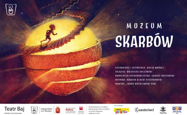 plakat spektaklu: mały chłopiec biegnie po kręconych schodach wokół świetlistej kuli, która przypomina słońce