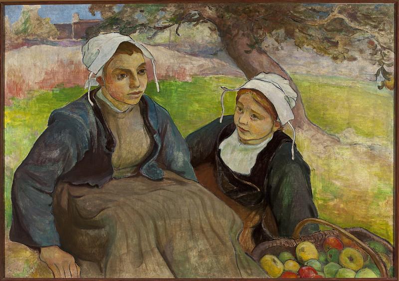 Dwie kobiety, wieśniaczki siedzą na trawie