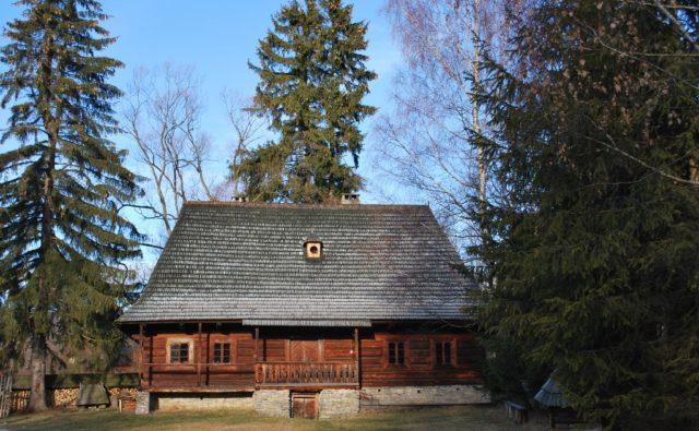 chata ze skansenu, naokoło niej drzewa iglaste