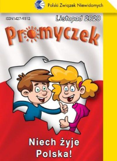 Okładka listopadowego wydania Promyczka. Na środku biało-czerwonego tła kontury Polski, wewnątrz chłopiec i dziewczynka. Mają uśmiechnięte twarze. Pod spodem napis Niech żyje Polska!