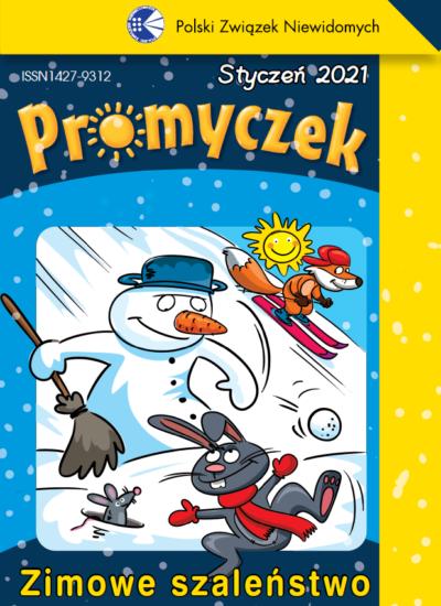 Okładka styczniowego numeru Promyczka. Na ośnieżonym stoku znajduje się kilka postaci: lisek zjeżdżający na nartach, bałwanek z miotłą w ręku, myszka zakopana w śniegu i wesoły zajączek kicający po śniegu.