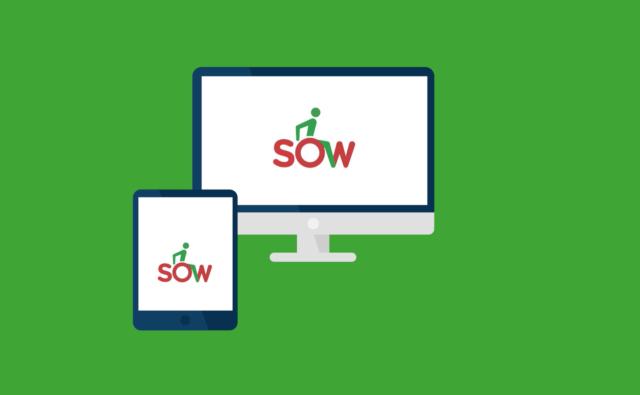 Na zielonym tle ikonka przedstawiająca komputer i tablet. Na ekranie każdego urządzenia napis SOW.