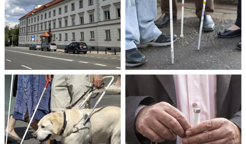 Zdjęcie składa się z 4 grafik, na trzech są niewidomi z białymi laskami, a na jednej - budynek PZN na Konwiktorskiej.