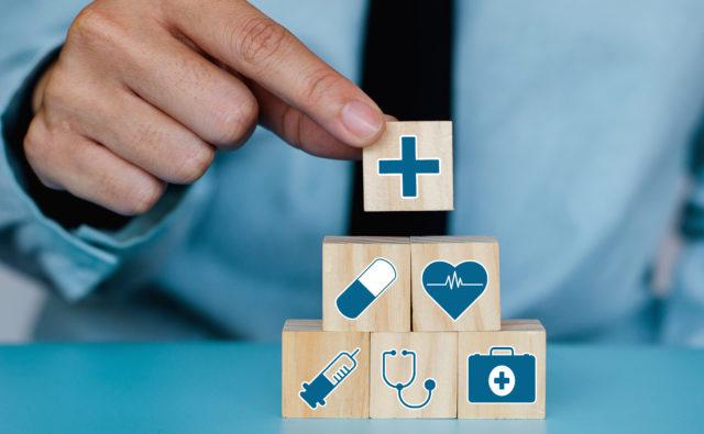 Klocki z symbolami zdrowia i rehabilitacji