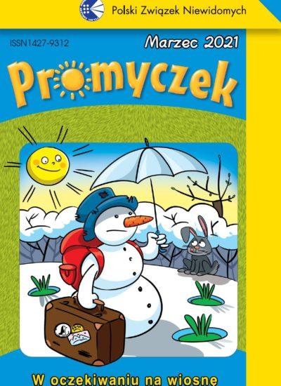 Okładka marcowego numeru Promyczka. Jest utrzymana w zielono-niebieskiej kolorystyce. Ilustracja przedstawia bałwana, który w jednej ręce trzyma walizkę, w drugiej - parasol osłaniający przed słońcem. Są też pierwsze oznaki wiosny - pączki na drzewie oraz trawa wybijająca się spod śniegu. Poniżej ilustracji napis: W oczekiwaniu na wiosnę.