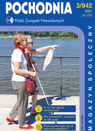 Kobieta niewidoma z przewodniczką patrzą na płynącą Wisłę. Przewodniczka pokazuje nieokreślony obiekt dłonią