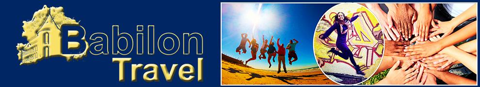Na lewej połowie zdjęcia logo Babilon Travel, na prawej kolaż przedstawiający młodych ludzi, złączone dłonie